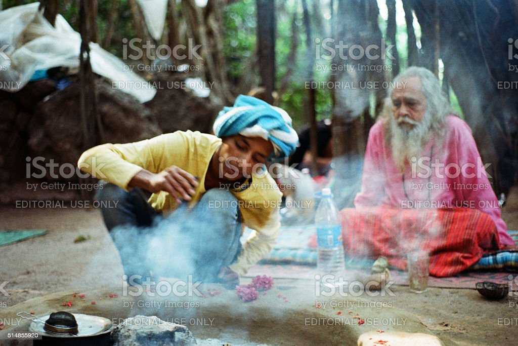 Indian baba in the forest stock photo