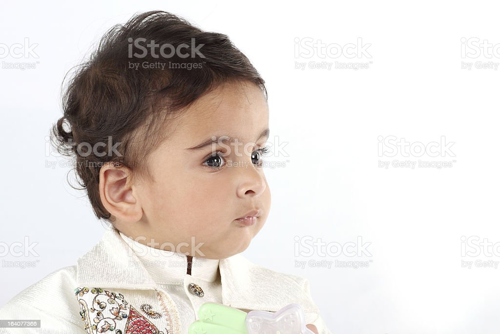 Indian Baby Boy wearing Traditional Clothes in white background royalty-free stock photo