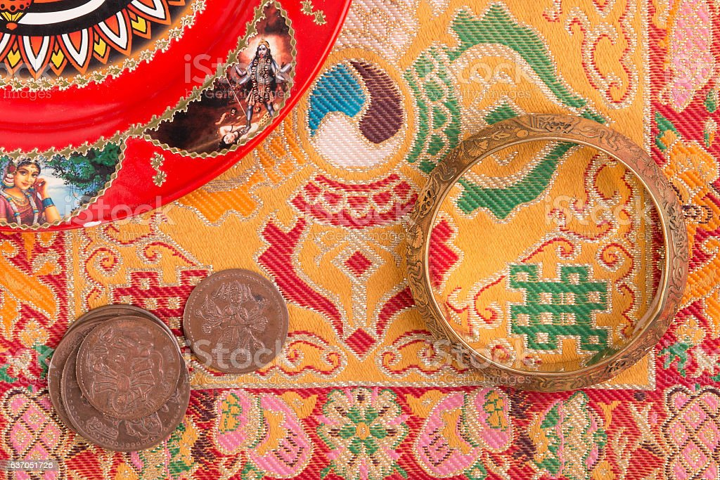 Indian background with various ritual objects stock photo