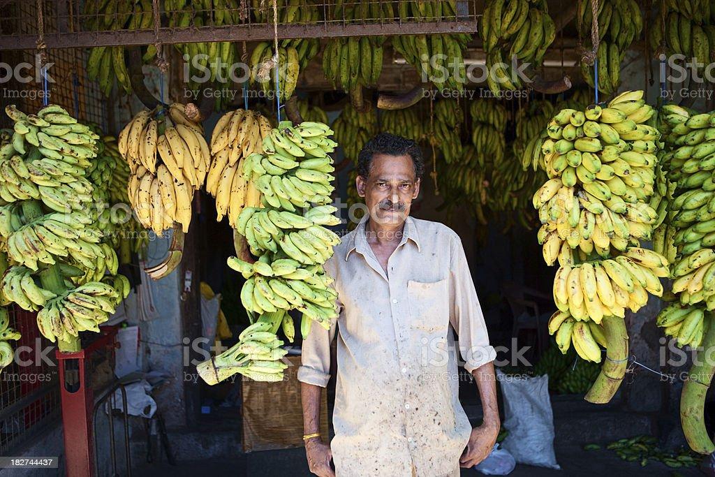 Indian banana seller stock photo