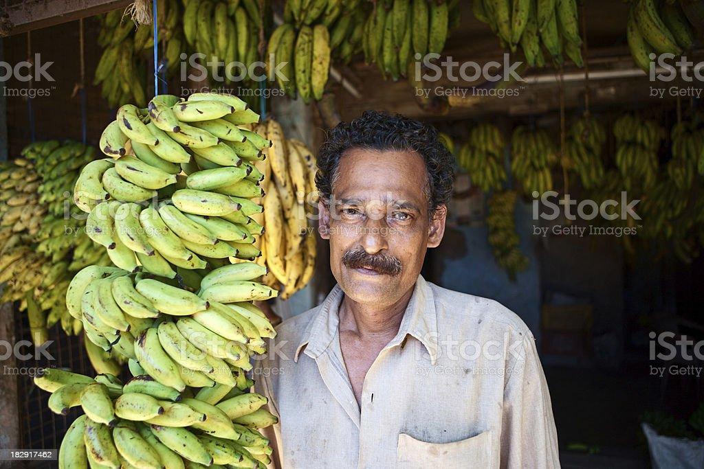 Indian banana seller royalty-free stock photo