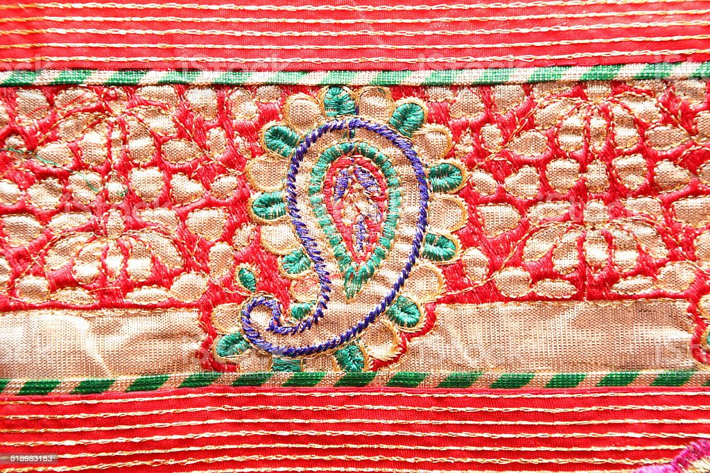 Indian bandhej saree cloth fabric texture stock photo