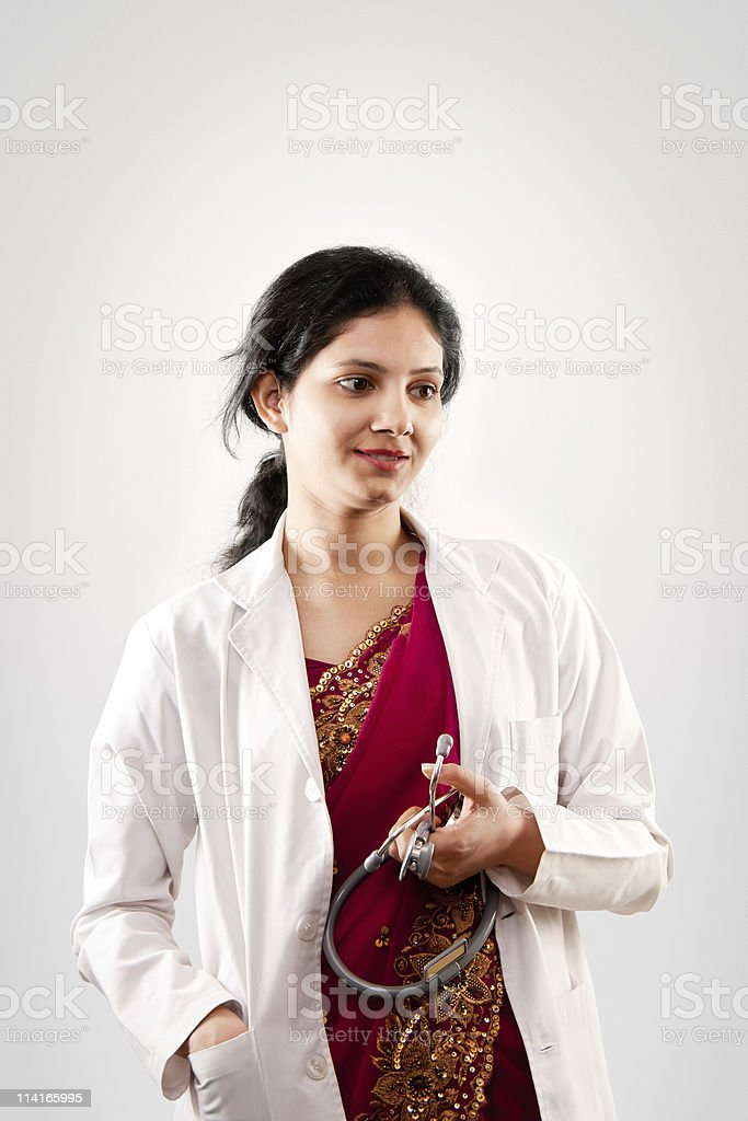 Indian beautiful  female doctor stock photo