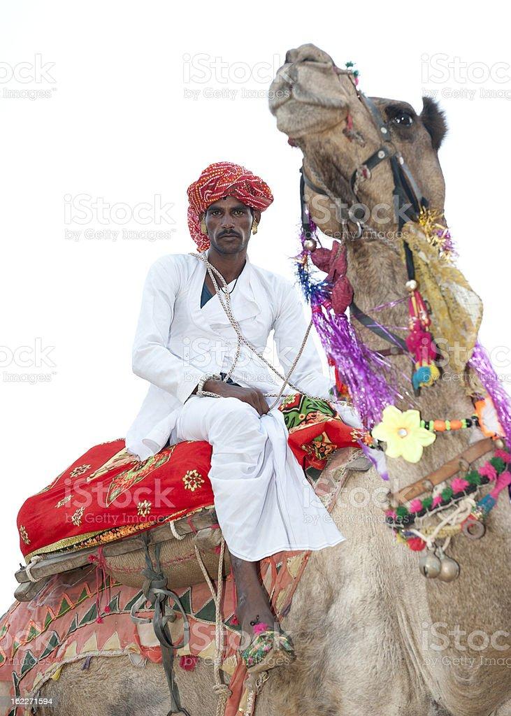 Indian Bedoiun Man Riding Camel royalty-free stock photo