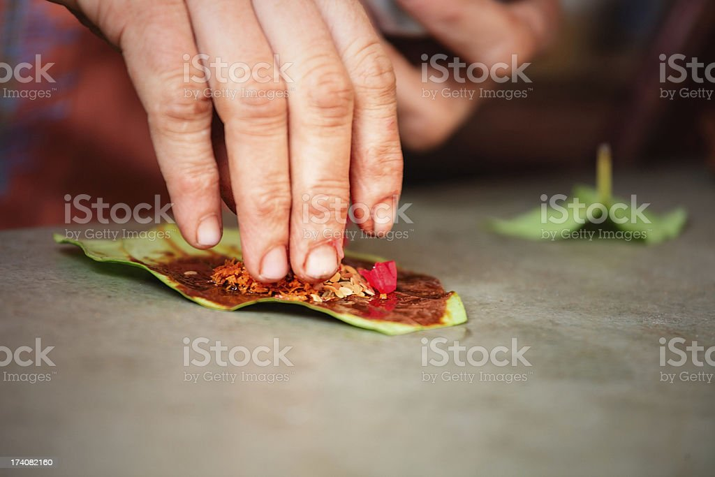 Indian Betle leaf preparation - paan stock photo