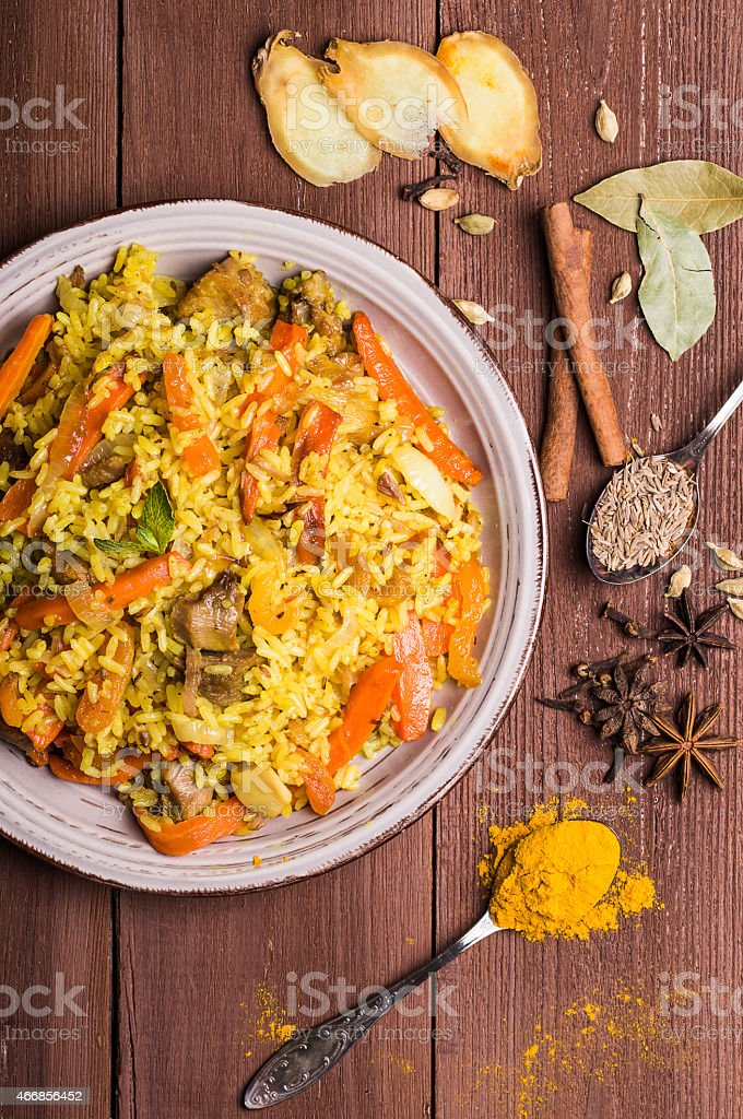 Indian Biryani with chicken and spices stock photo
