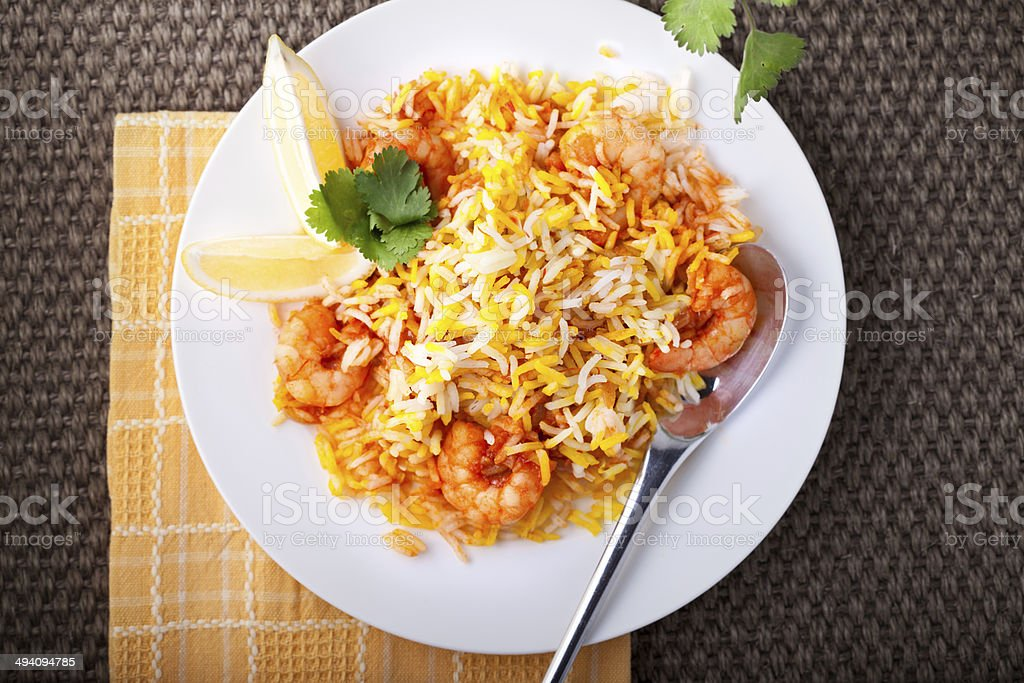 Indian Biryani with Shrimp stock photo