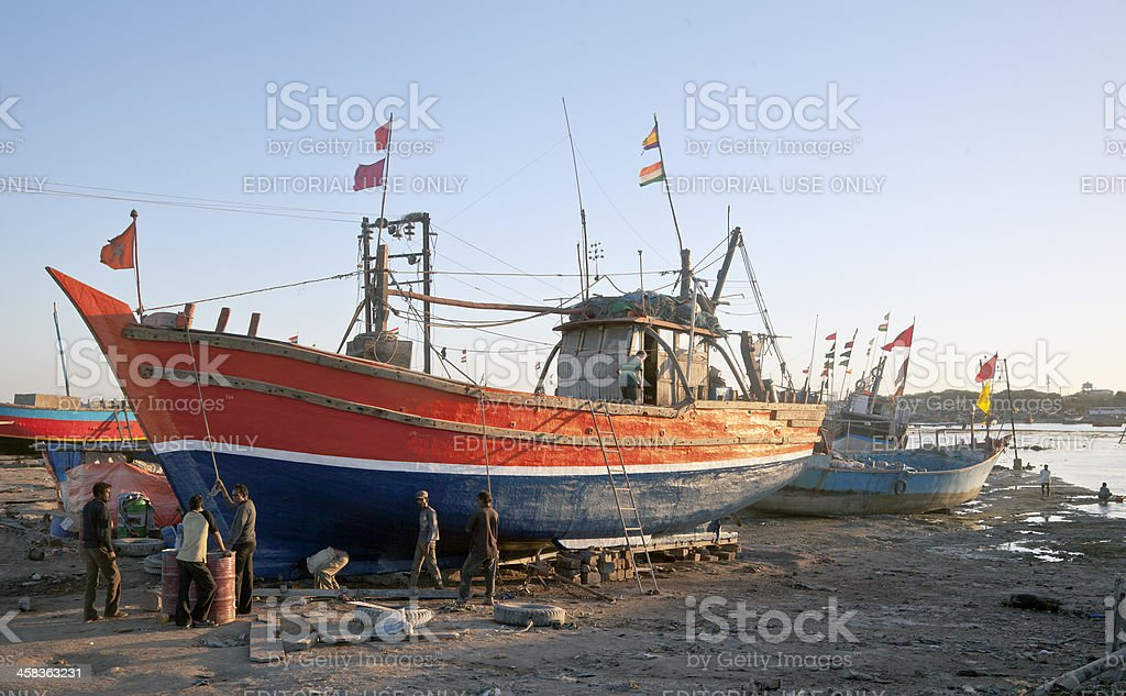 Indian Boatyard in Gujarat at Sundown royalty-free stock photo