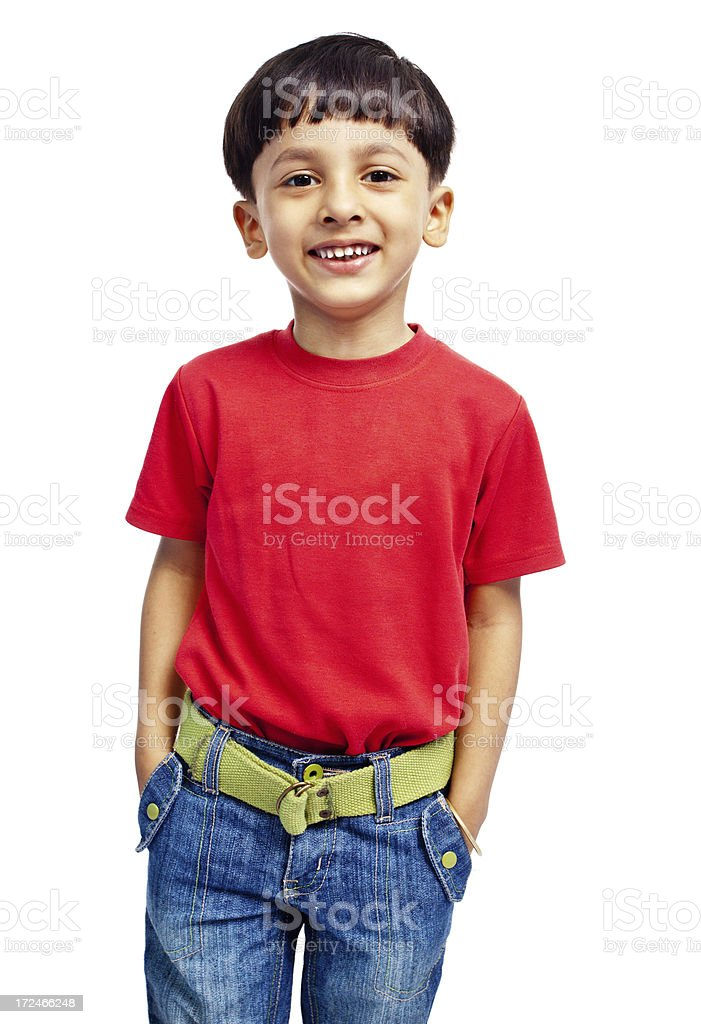 Indian Boy Child with Hands in Pockets Isolated on White royalty-free stock photo