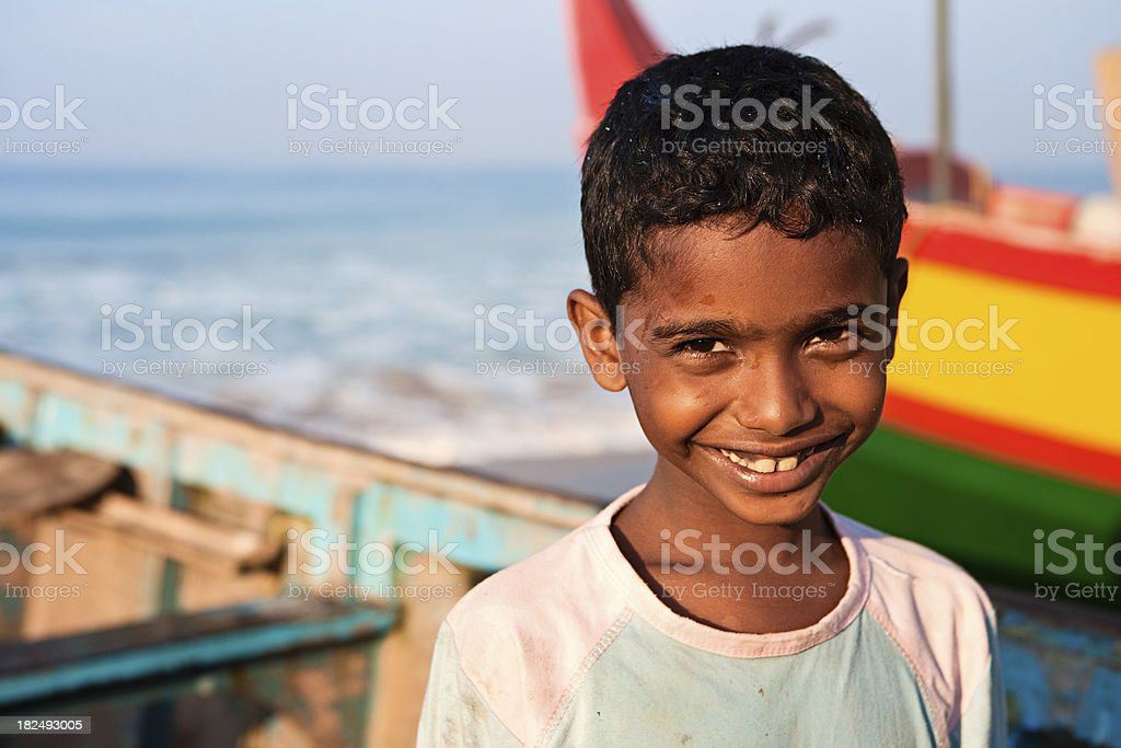 Indian boy on the beach royalty-free stock photo