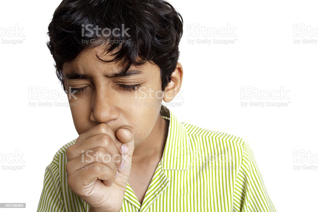 Indian Boy Teenager coughing sneezing isolated on White Background royalty-free stock photo