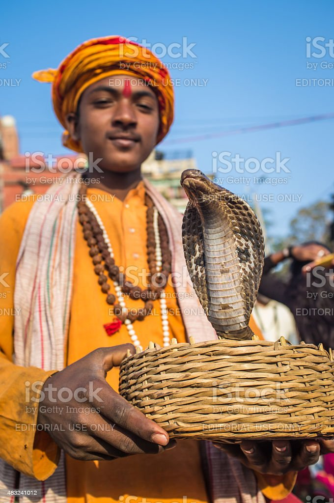 Indian boy with cobra stock photo