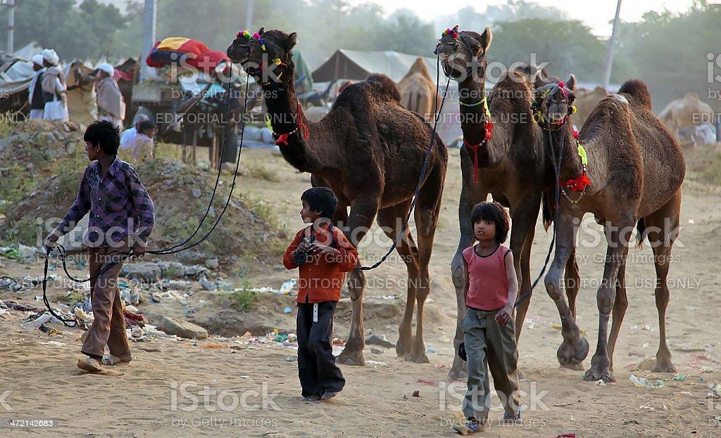 Indian boys in Pushkar fair stock photo