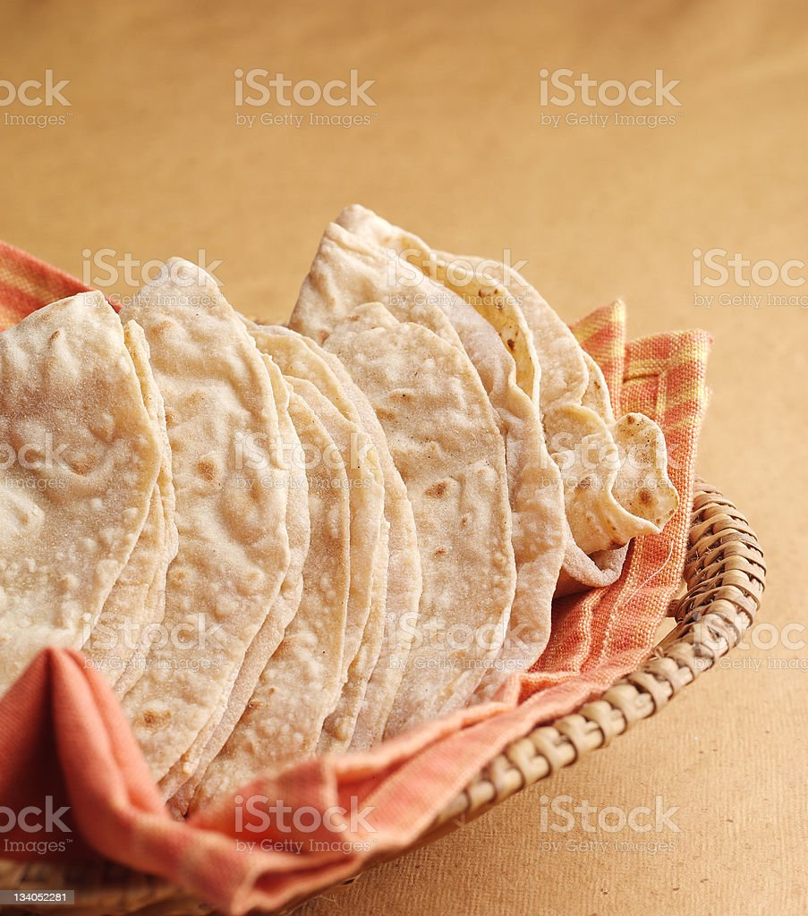 indian bread, fulca, chappati stock photo