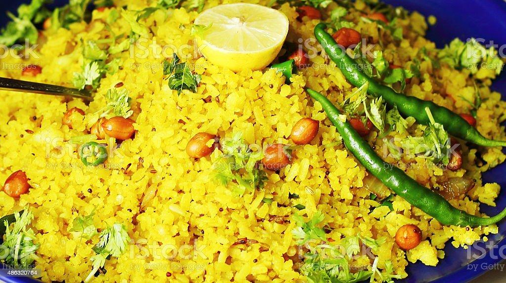 Indian breakfast Poha stock photo