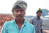 Indian bricks making worker