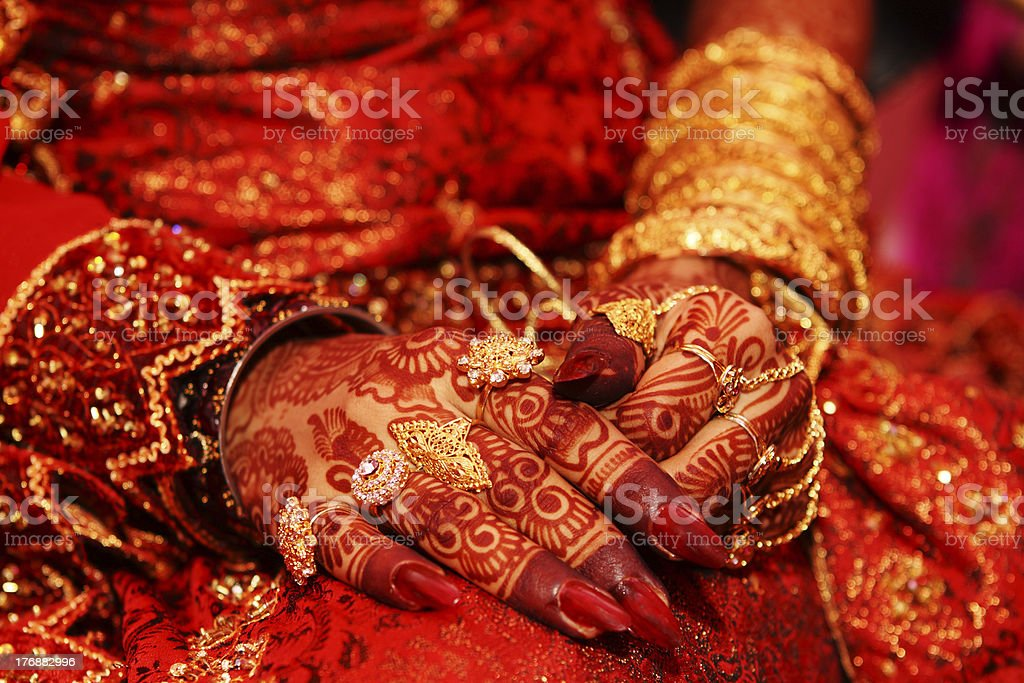 Indian bridal hand stock photo