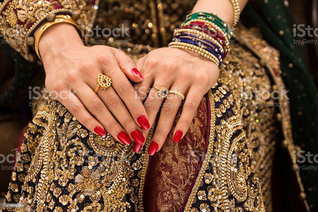 indian bride hands stock photo