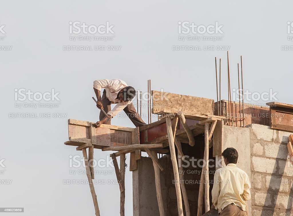 Indian building workers stock photo