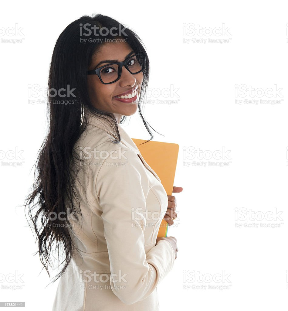 Indian business woman holding file folder document. royalty-free stock photo