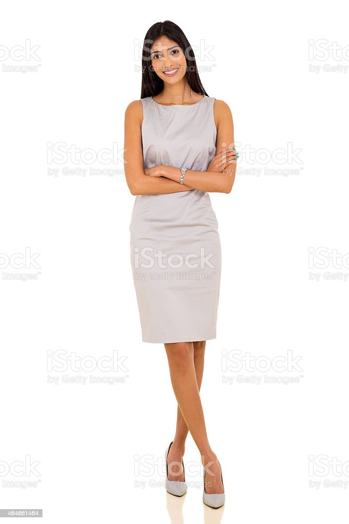 indian business woman with arms crossed stock photo