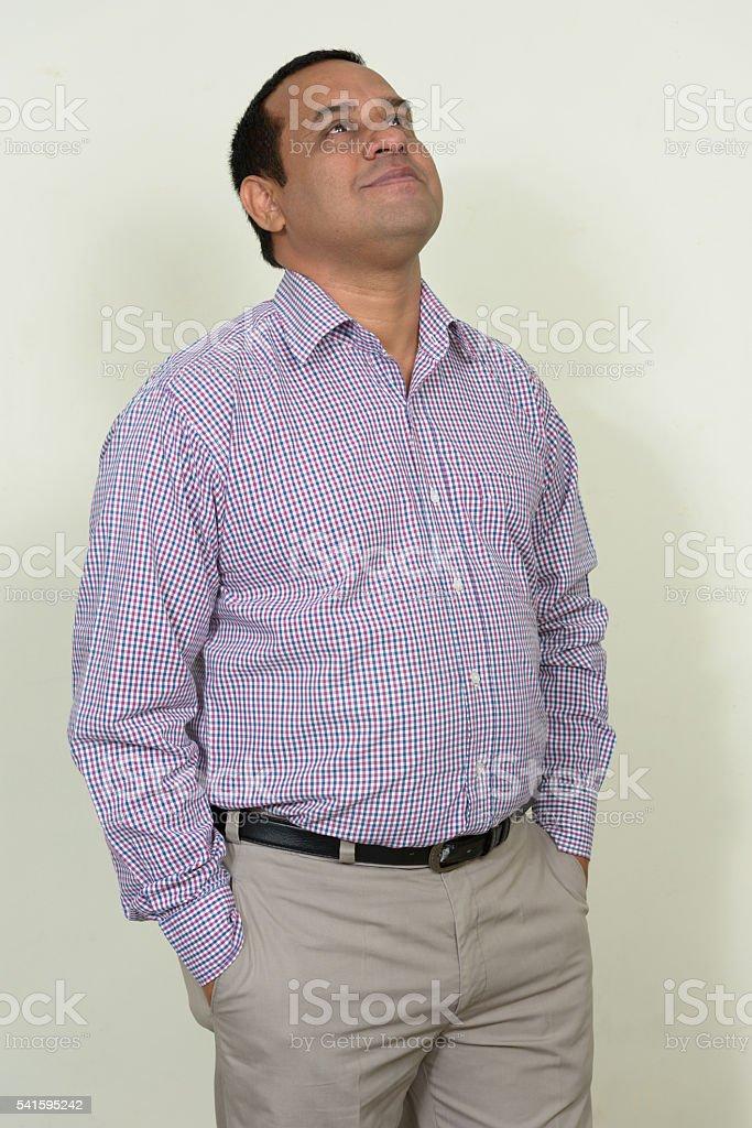 Indian businessman thinking stock photo