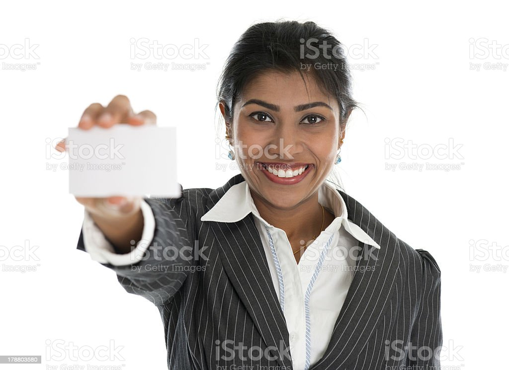 Indian businesswoman shows a blank business card royalty-free stock photo