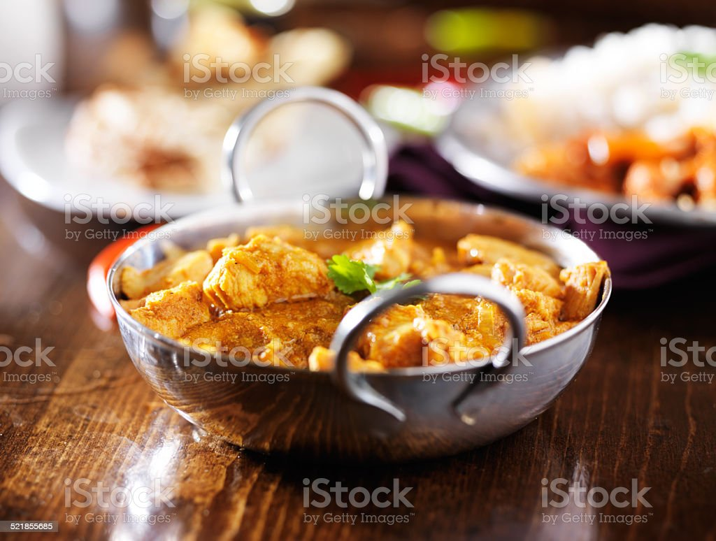 indian butter chicken curry with basmati rice stock photo