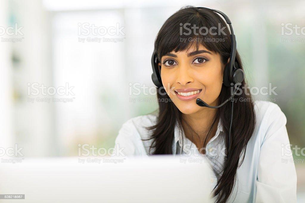 indian call center representative stock photo