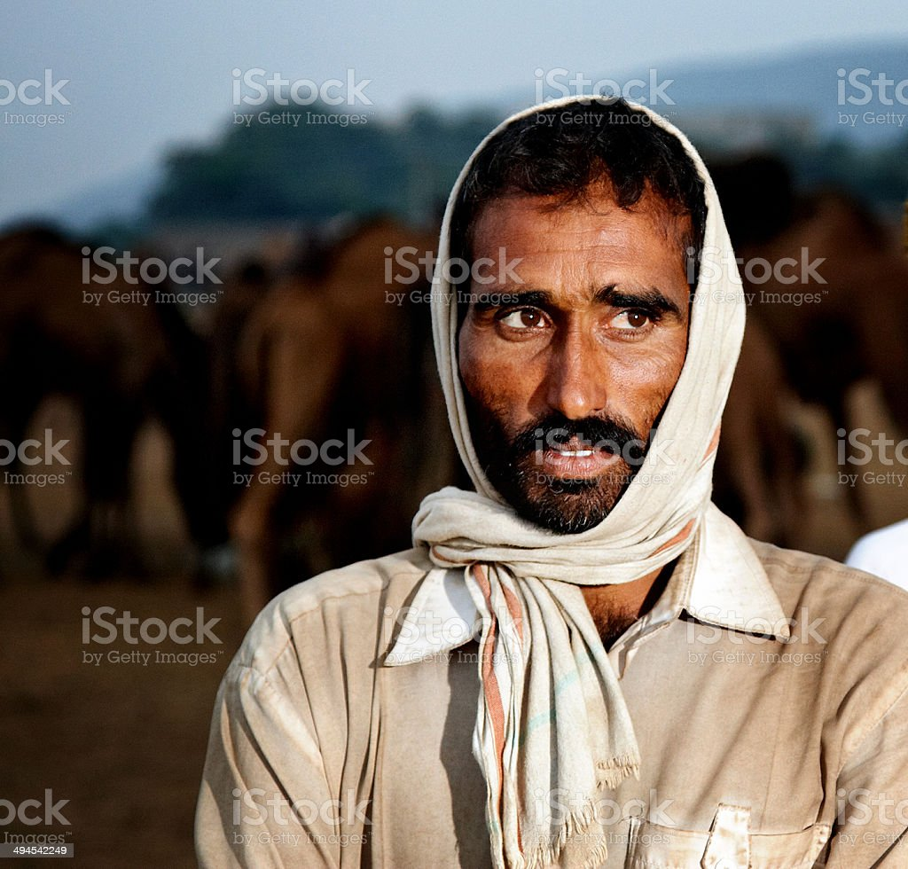 Indian camel herder stock photo