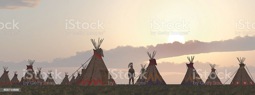 Indian camp at dusk stock photo