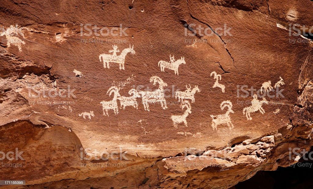 Indian Cave Painting Petroglyph stock photo