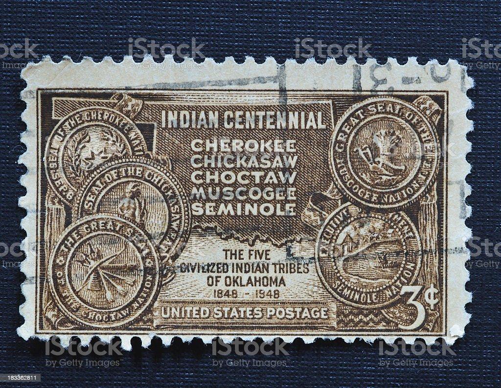 Indian Centennial 3 cent stamp stock photo