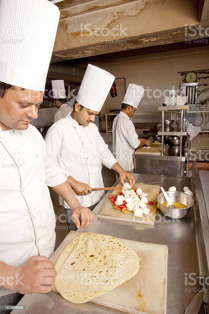Indian Chefs preparing Kathi Roll Kebab stock photo
