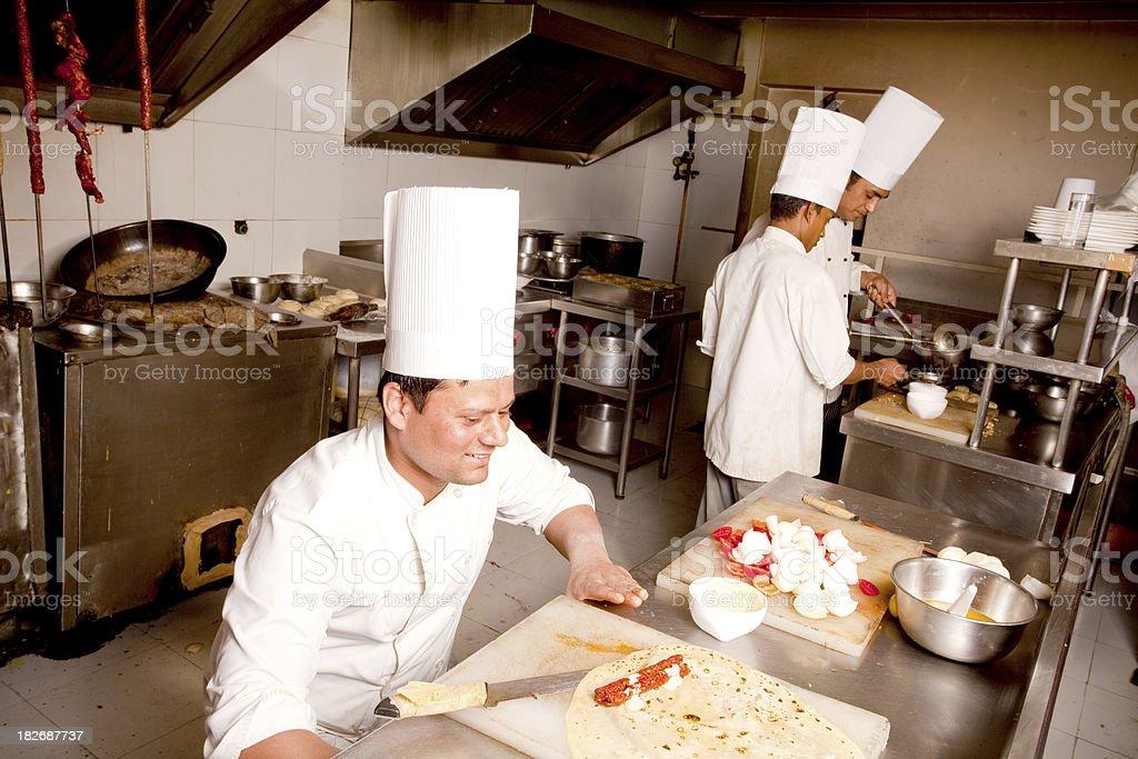 Indian Chefs preparing Kathi Roll Kebab royalty-free stock photo