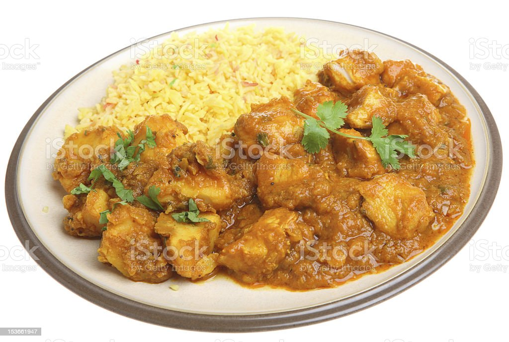 Indian Chicken Curry Takeaway Meal stock photo