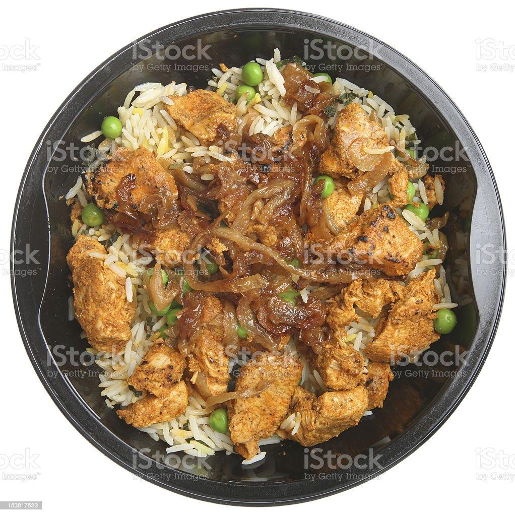 Indian Chicken Tikka Biriyani Ready Meal stock photo