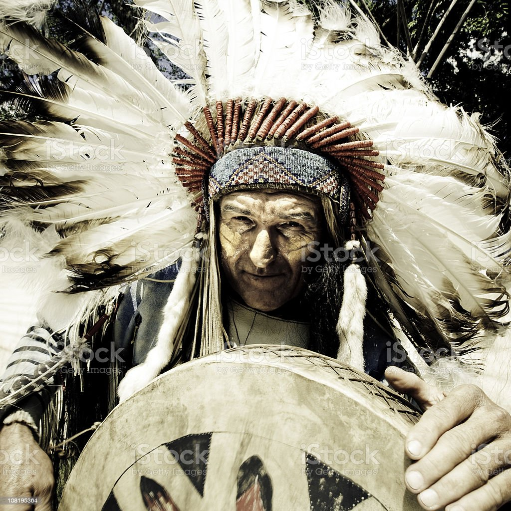 Indian Chief and Tribal Dancer royalty-free stock photo