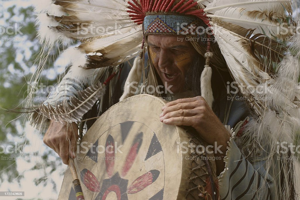 Indian Chief chants stock photo