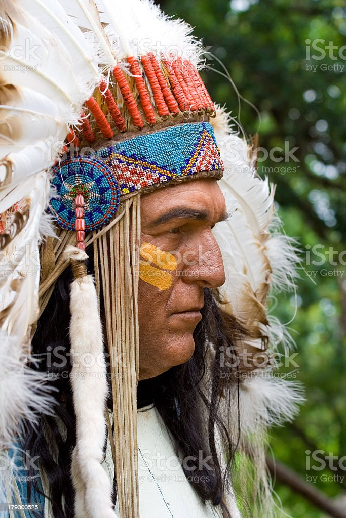 Indian Chief Profile stock photo