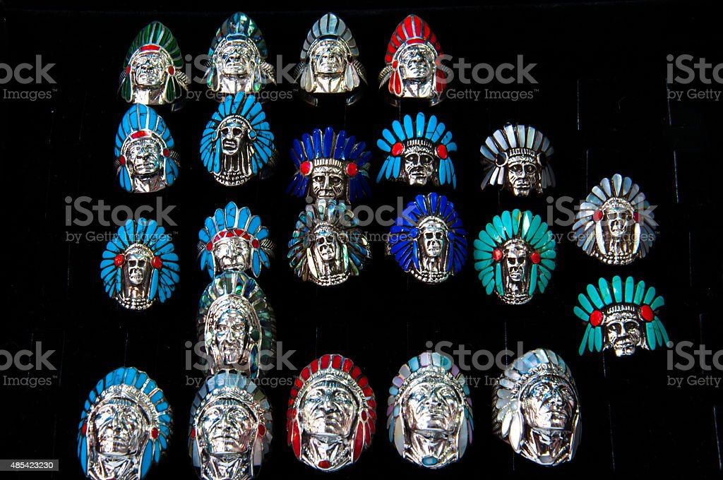 Indian Chief shaped silver rings stock photo