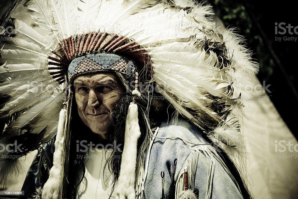 Indian Chief Wearing Headdress stock photo