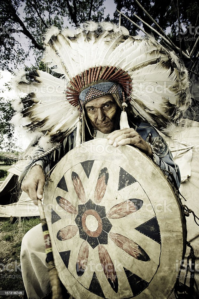 Indian Chief with Traditional Drum stock photo