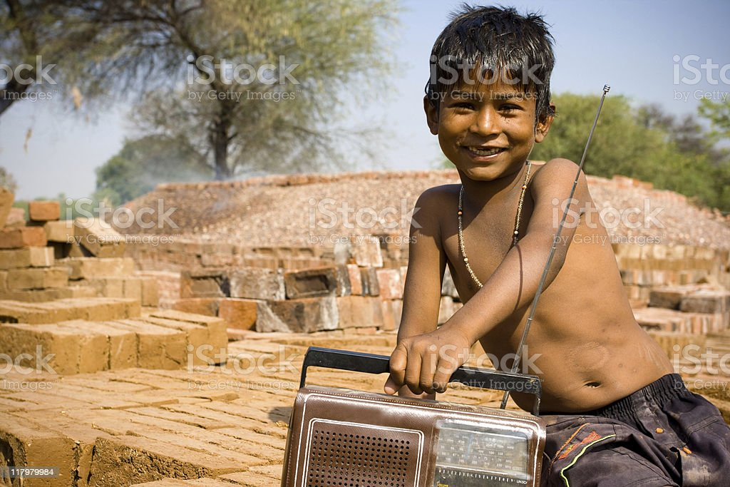 Indian child with radio royalty-free stock photo