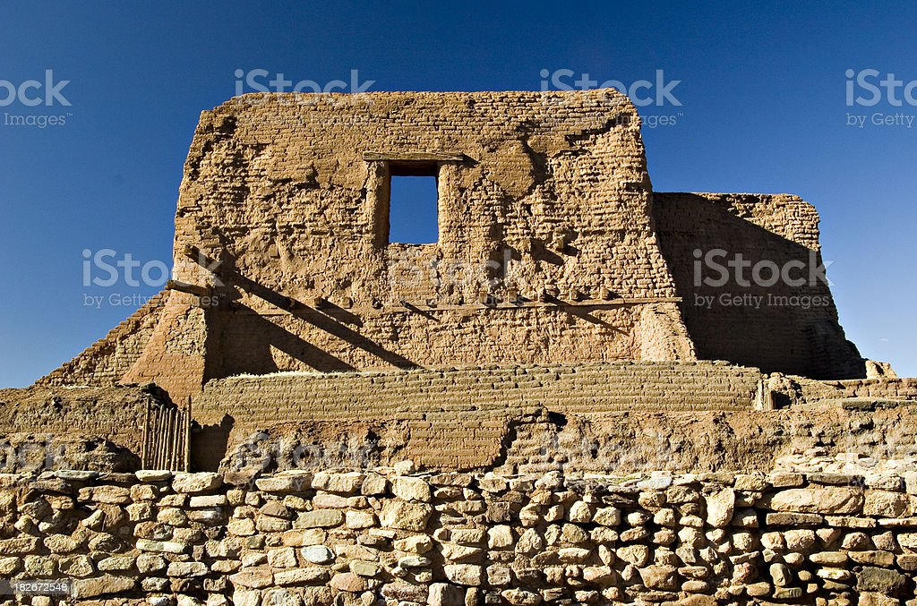 Indian Church Ruins at Pecos National Historical Park, New Mexico stock photo