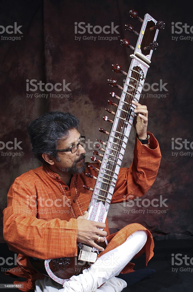 Indian Classical music, sitar stock photo