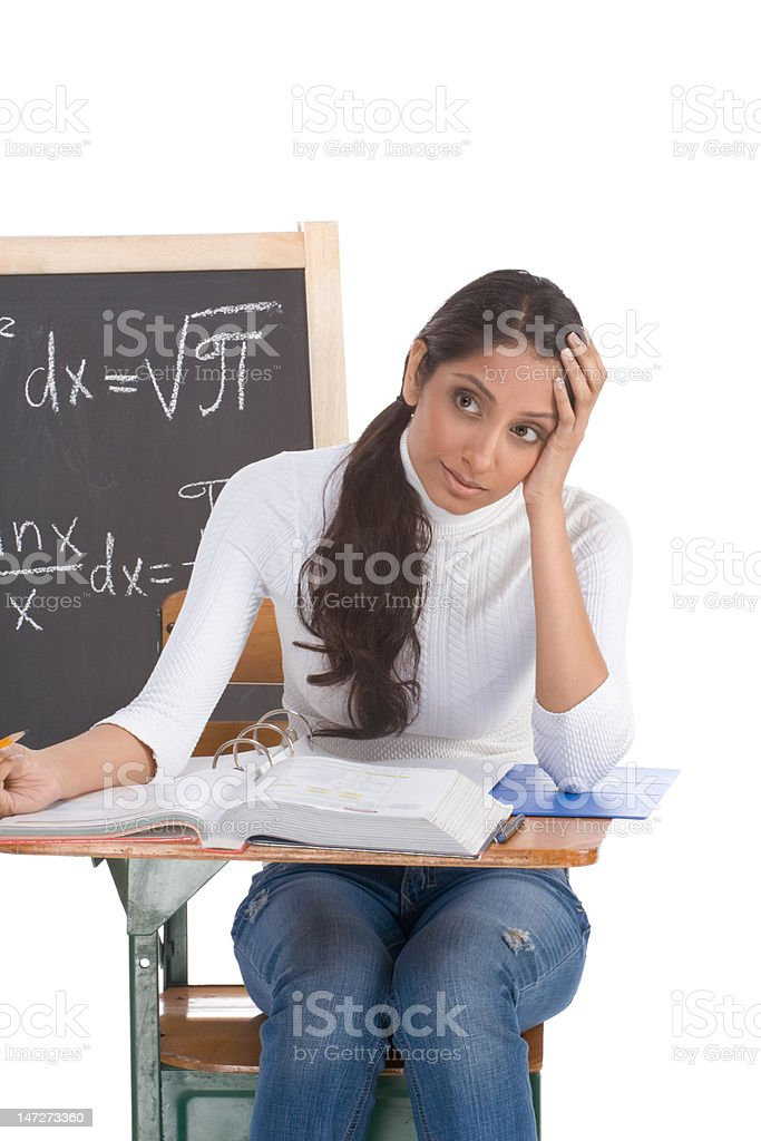 Indian college student woman studying math exam royalty-free stock photo