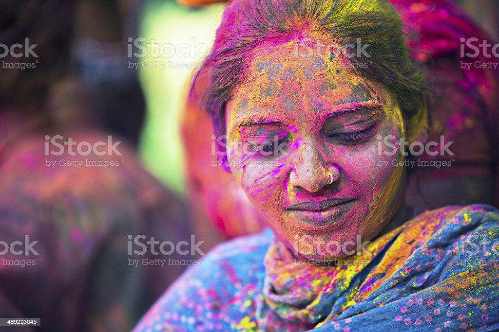 Indian colorful beautiful woman stock photo