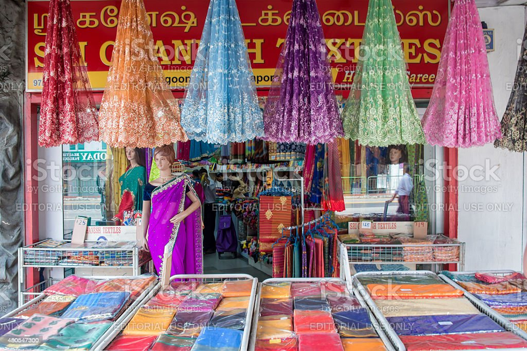 Indian colorful fabric and clothes shop in Little India, Singapore stock photo