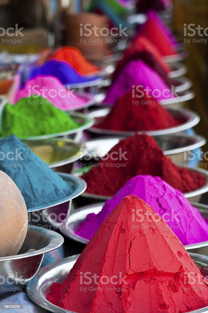 Indian coloured powders stock photo